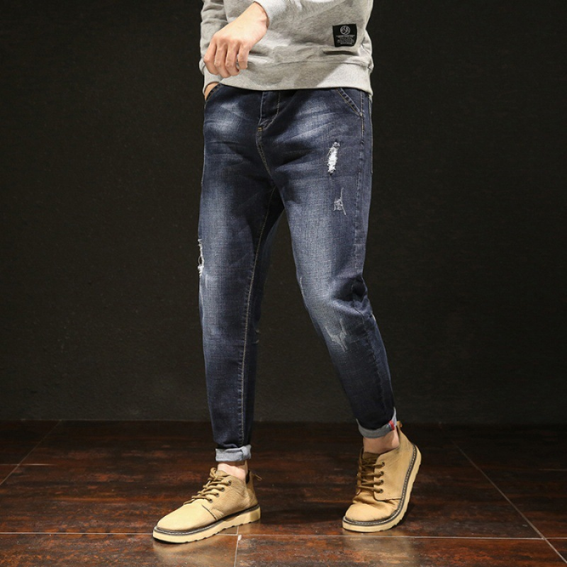Large Size Jeans Men's Loose-Fit Summer New Style Extra-large Lard-bucket Men's Trousers Fat Casual Skinny Pants Wear-Resistant