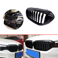 1 Pair Front Kidney Grille for BMW New 5 Series G30 G38 2018 2019 Grille Gloss Black Front Bumper Slat Grill Car Front Grille