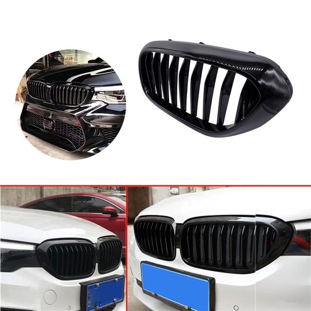 1 çift araç ön ızgarası BMW için yeni 5 serisi G30 G38 2018 2019 Grille parlak siyah ön tampon çıta ızgara araba ön ızgara