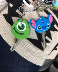 2Pcs/set Key Holder Cartoon Silicone Protective key Case Cover For keys Cute Creative PVC Soft Keychain Ornament Pendant