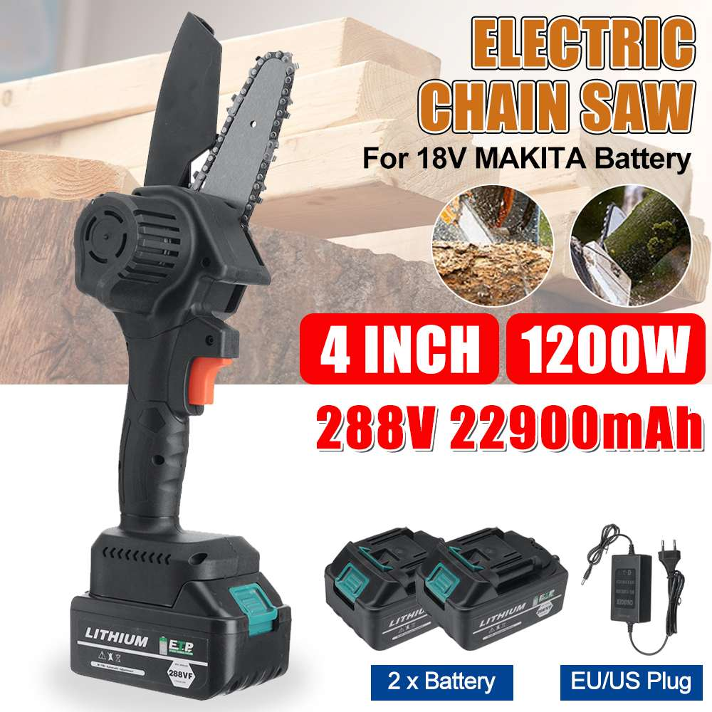 288Vf 1200W 4 Inch Mini Electric Chain Saw Rechargeable Woodworking Purning Garden Logging Power Tools Adapt to Makita Battery
