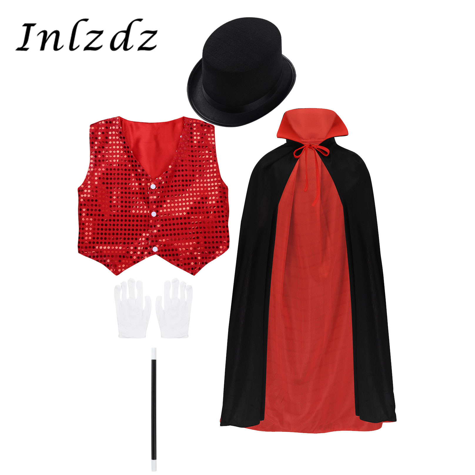 Kids Magician Cosplay Costume Halloween Outfit Waistcoat Cape Hat Magic Wand Gloves Set for Role Play Choir Jazz Dance Stage