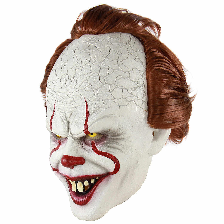 Stephen King 'S Maschera Pennywise Horror Clown Joker Maschera in Lattice di Halloween Spaventoso Maschera da Clown Partito Realistico Costume Cosplay Puntelli