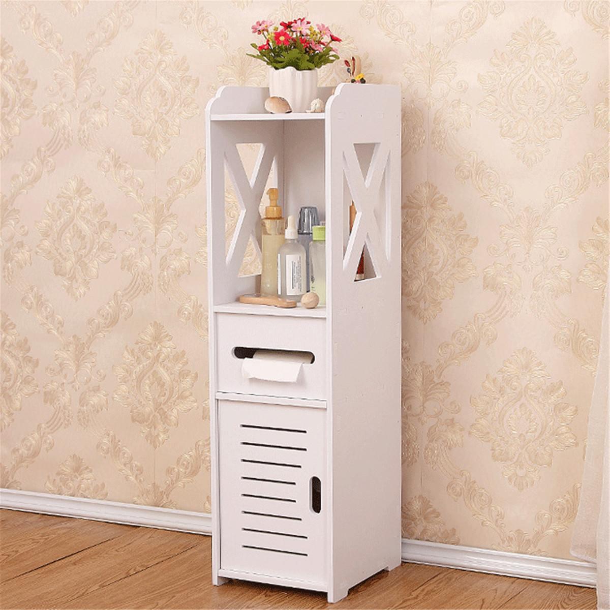 4 Layers Living Room Cabinet Rack Cupboard Storage Shelves Bathroom Corner Floor Cabinet Unit Toilet Tissue Drawers Furniture