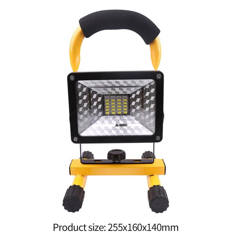Перезаряжаемые 50 Вт 2400LM светодиодный US прожектор, точечный светильник, Портативный прожектор Водонепроницаемый IP65 50 Вт 2400LM 36 светодиодный 3-режимный напольный светильник - Испускаемый цвет: With battery