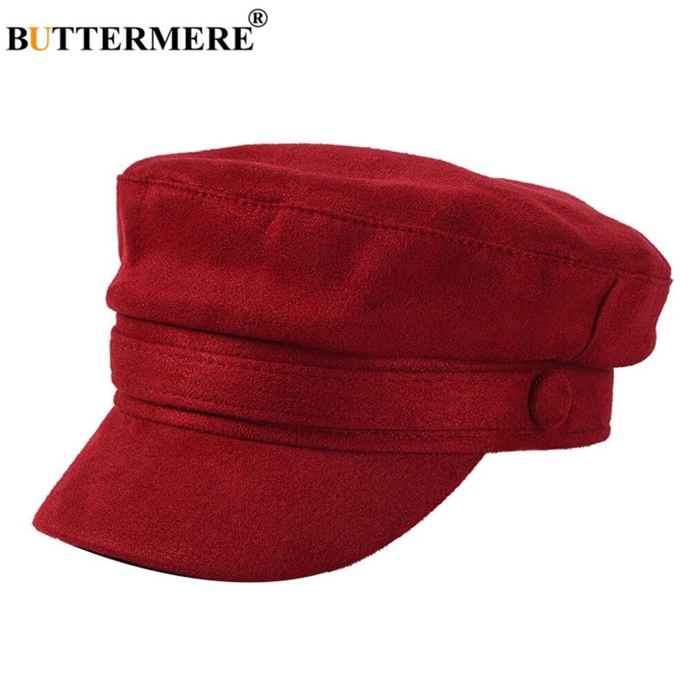 BUTTERMERE Suede Fiddler Cap Autumn Winter Women Military Cap Red Solid British Retro Female Baker Boy Cap