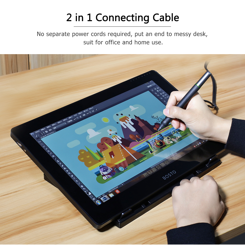 Image 5 - BOSTO BT 16HD IPS HD Graphic Monitor Drawing Digital Tablet Passive Technology USB Powered 8192 Pressure Level Pen TouchscreenDigital Tablets   -