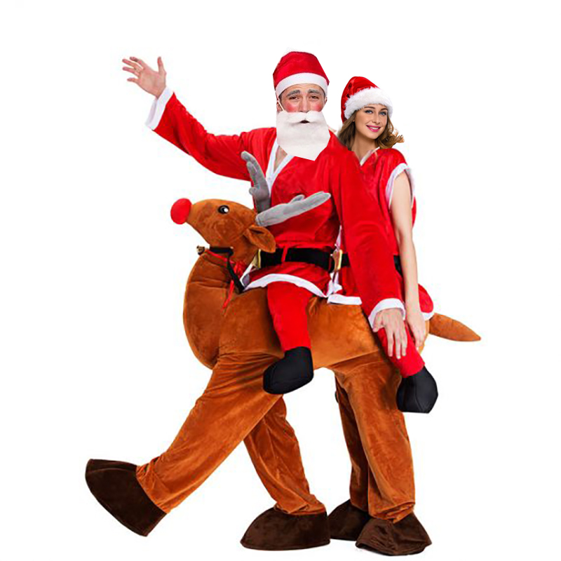 Christmas Santa Claus Ride On Reindeer Mascot Costume Couple Christmas Cosplay Double Person Elk Animal Funny Dress Novelty Toys