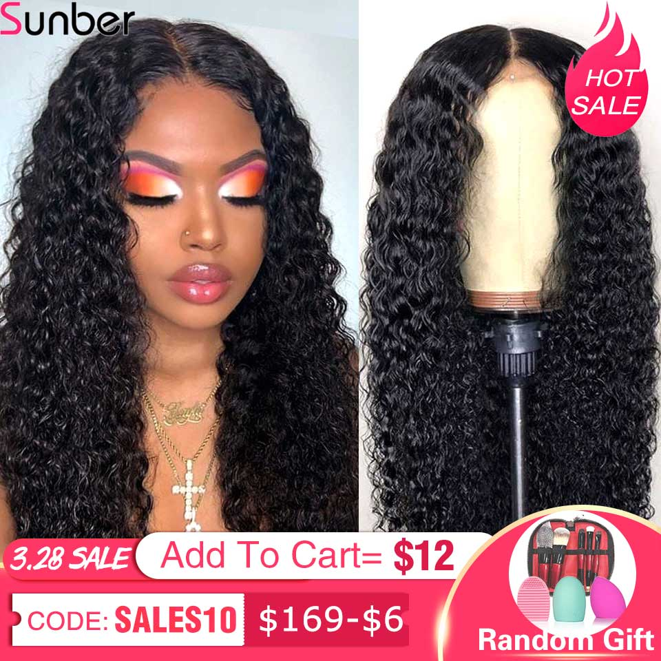 Sunber Peruvian Deep Curly Lace Wig Pre-Plucked 10-24'' 13x4/6 150/180% DensityRemy Glueless Lace Front Human Hair Wig For Women