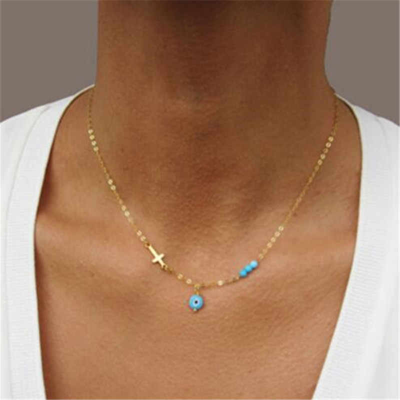 Wkoud Mata Jahat Cross Liontin Kalung Turquoisebead Emas Berlapis Perak Kalung Kalung Bahasa Yunani Perhiasan Hadiah Natal