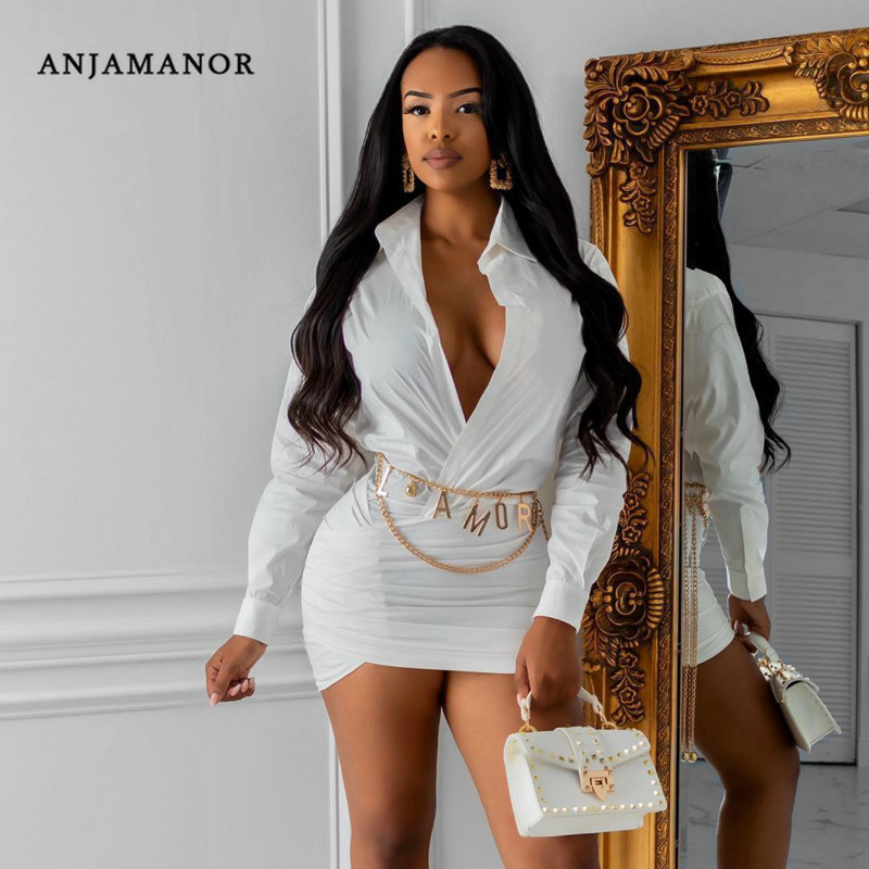 ANJAMANOR <font><b>Deep</b></font> <font><b>V</b></font> Neck Long Sleeve Bodycon Mini <font><b>Dress</b></font> 2019 Fall Fashion Women Night Club Party <font><b>Dresses</b></font> White Black Red D59-AC40 image
