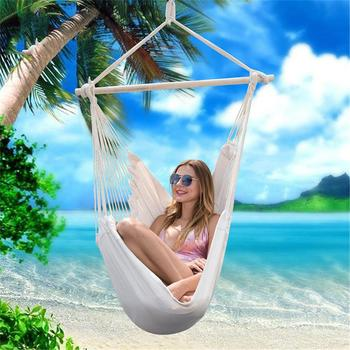Cotton Canvas Hanging Chair Outdoor Swing Hammock Chair Indoor and outdoor White Striped Swing