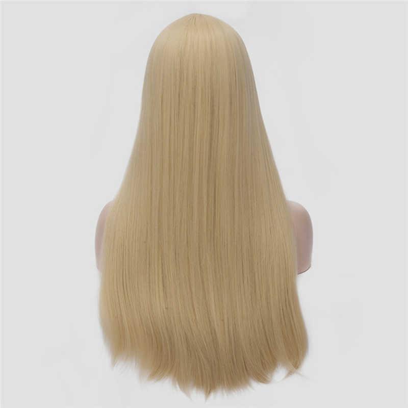 Perruque synthétique avec raie au milieu 24 pouces | Perruque lisse longue de couleur rouge, argent, noir, gris, blanc, blond, verte, perruque pour femmes