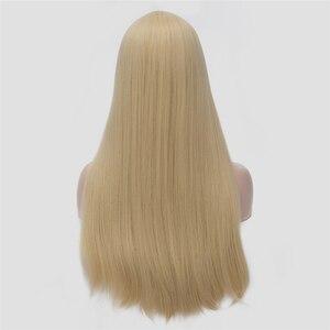 Image 5 - VICWIG 24 אינץ ארוך ישר שיער אדום כסף שחור אפור לבן בלונד ירוק סינטטי פאת אמצע חלק נשים פאות