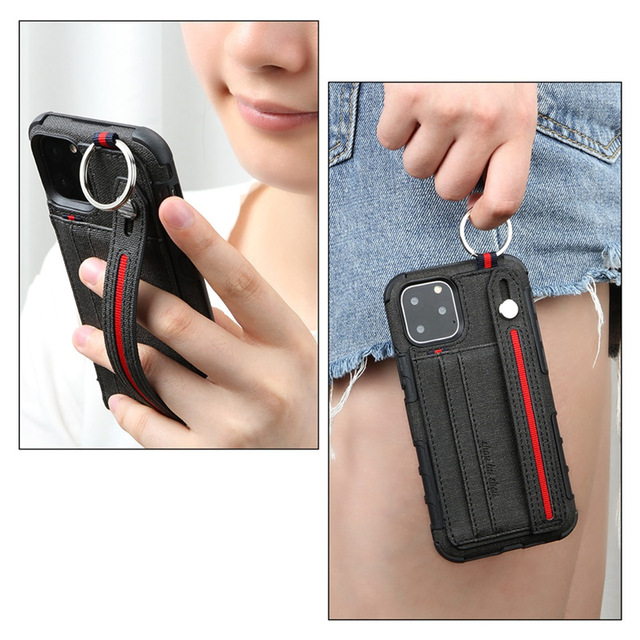 10pcs Card Slot PU Leather Phone Case for iPhone 11 Pro Max 7 8 6 6s plus XR Xs max X Soft Cover Shockproof Stand Holder 2