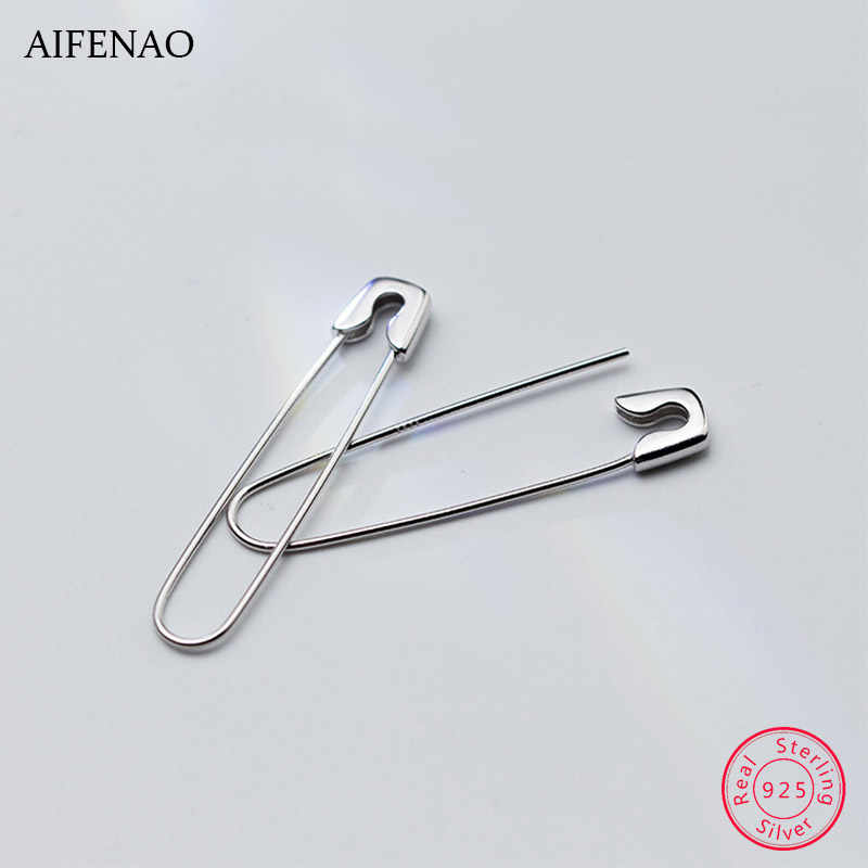 925 Sterling Silver Safety Pins Stud Earrings For Women Men  Paperclip Hip Hop Earring Ear Female Jewelry Party Gift