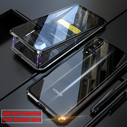 На Алиэкспресс купить стекло для смартфона 360 full protective phone case for honor 20 pro nova 5t 20pro phone magnetic metal bumper armor front glass cover for honor 20