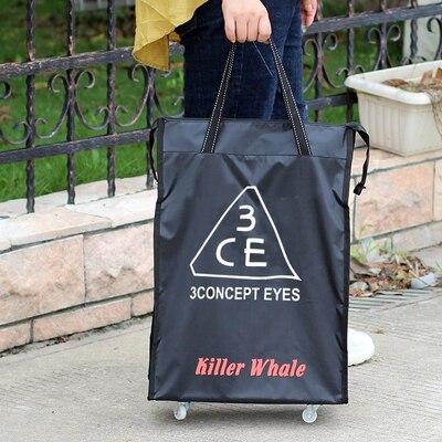 Портативная тележка для продуктов Женская Мужская сумка складная сумка тележка Сумка на колесах купить Сумка для овощей хозяйственная сумка трейлер XYLOBHDG - Цвет: D
