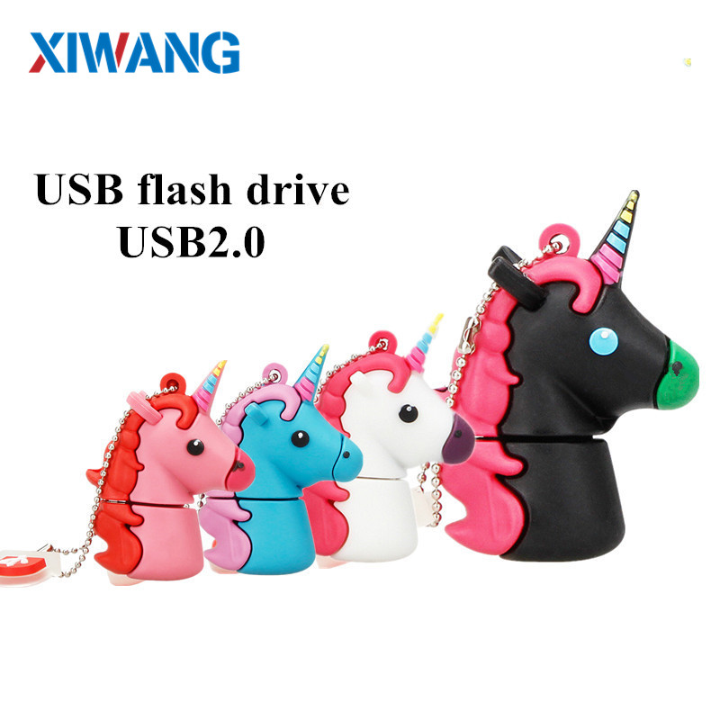 XIWANG USB Flash Drive 128GB Real capacity Pendrive 64GB 32GB 16GB 8GB4GB Cartoon lovely Horse Pen drive USB Stick free shipping-in USB Flash Drives from Computer & Office