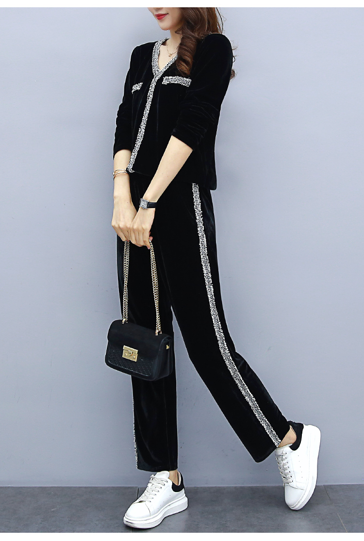 2019 Black Velvet Two Piece Sets Outfits Women Plus Size V-neck Tops And Pants Suits Korean Casual Fashion Sport Tracksuits Sets 25