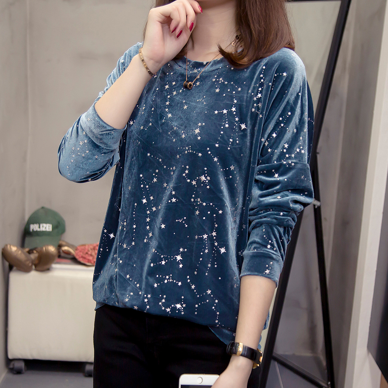 Nkandby Plus Size Starry Sky Women Sweatshirts 2019 Autumn Winter Fashion Drop-shoulder Velour Pullovers Oversize Stylish Tops