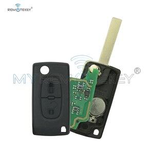 Image 1 - CE0536 модель 207 307 308 Автомобильный откидной пульт дистанционного управления 2 кнопки 434 МГц HU83 лезвие ключа для Peugeot citroen remtekey