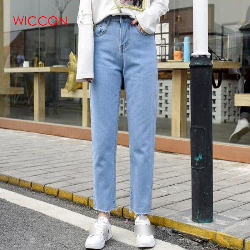 Хлопковые белые джинсы, женские шаровары с высокой талией, джинсы для мам, большие размеры, небесно-Голубые штаны, черные модные женские джи...