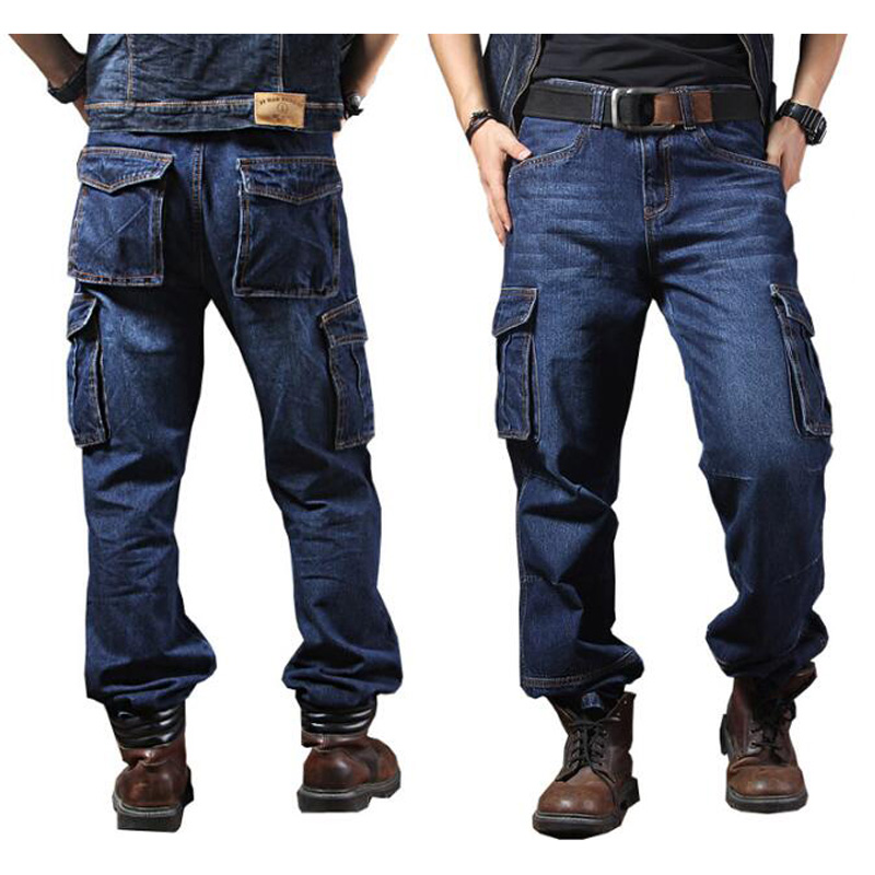 Men Jeans Straight Cargo Trousers Casual Cotton Overalls Mens Fashion Loose Seasons Men's Jeans Plus Size