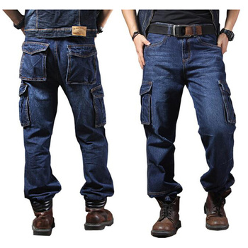 Men Jeans Straight Cargo Trousers Casual Cotton Overalls Mens Fashion Loose Seasons Men's Jeans Plus Size