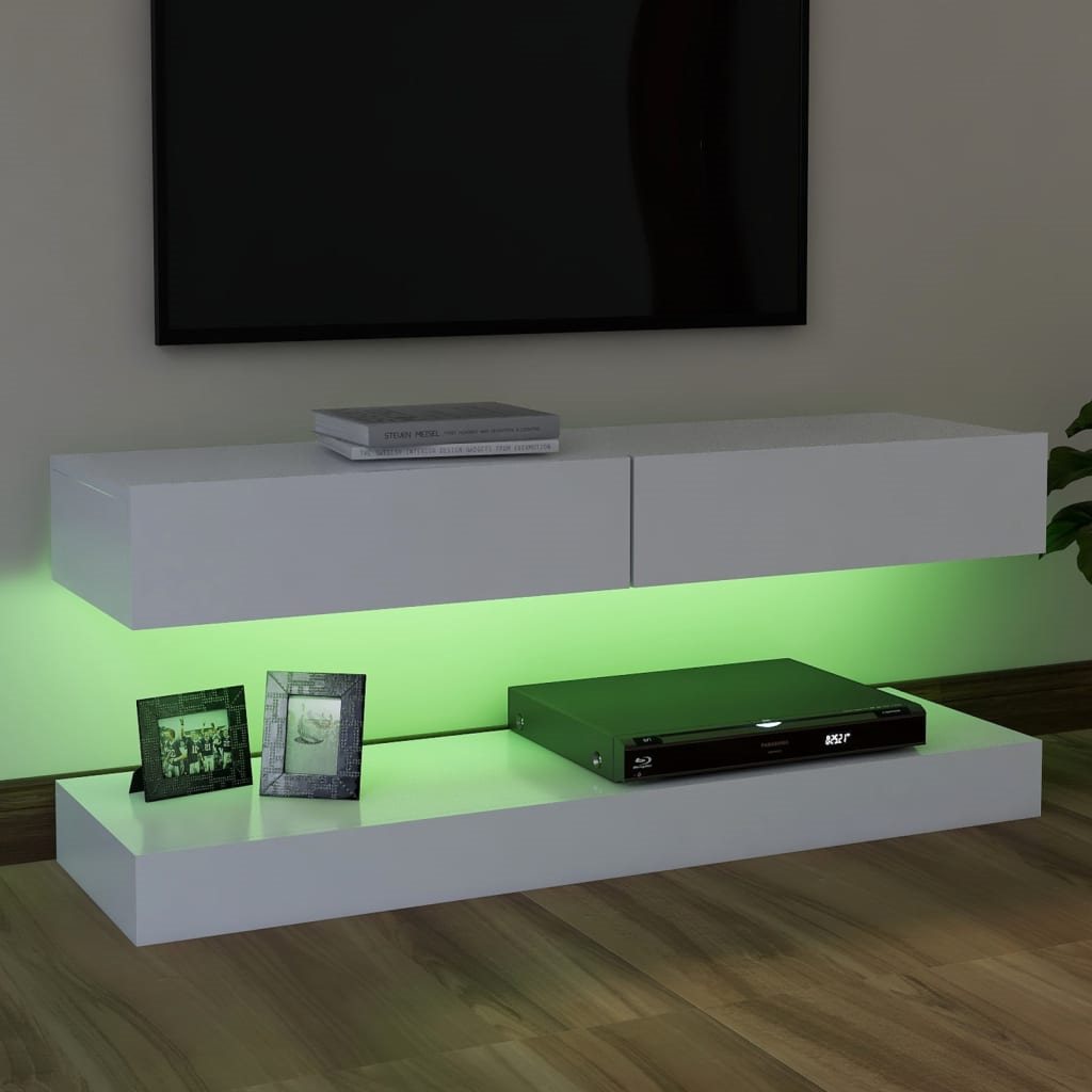 TV Cabinet with LED Lights White 120x35 cm TV Stand With LED Lighting Contains An Upper Shelf With Drawers And A Lower Base