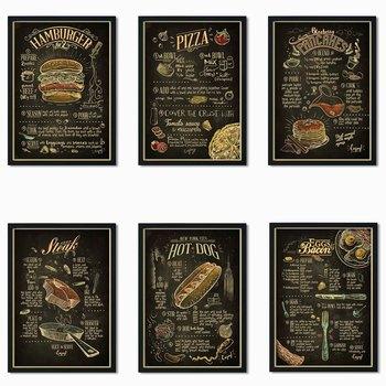 Restauracja w stylu nordyckim restauracja fast food przepis na jedzenie menu hamburger spaghetti stek frytki w stylu retro plakat z papieru pakowego tanie i dobre opinie WXDUUZ CN (pochodzenie) POSTER Pojedyncze Wodoodporny tusz cartoon bez ramki Nowoczesne A126 Malowanie natryskowe Pionowy prostokąt