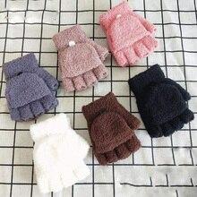 Детские перчатки из кораллового флиса двойного назначения, перчатки с полупальцами, зимние теплые варежки для мальчиков и девочек