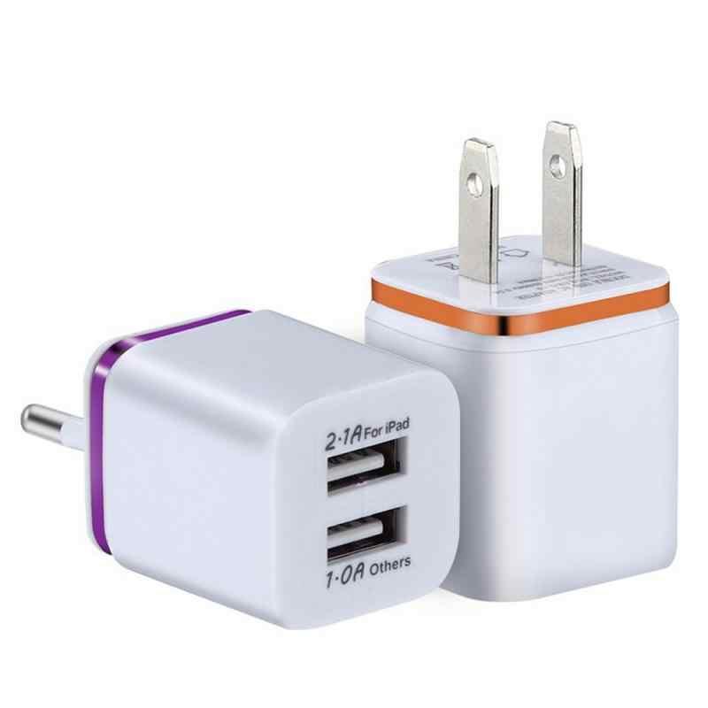 شاحن USB مزدوج 2A شحن سريع كابل الهاتف المحمول آيفون سامسونج شاومي السفر الاتحاد الأوروبي/الولايات المتحدة محول القابس شاحن الجدار المحمولة