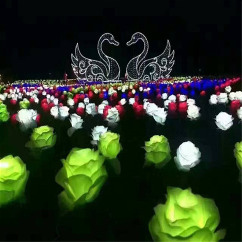 LED Rose Flowers Colorful Rose Lantern Show Dream Lights LED Outdoor Square Landscape Park Glistening Holiday Lights 20pcs/set