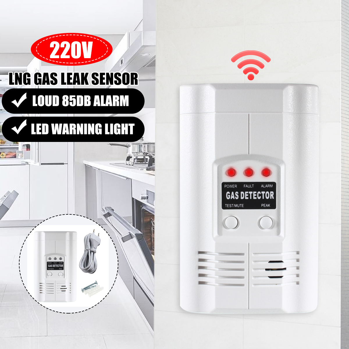 Sensitivity Gas Leak Detector Sensor Alarm Digital Combustible Gas Detector Natural Propane Lpg LNG Gas Leak Home Warn Tester