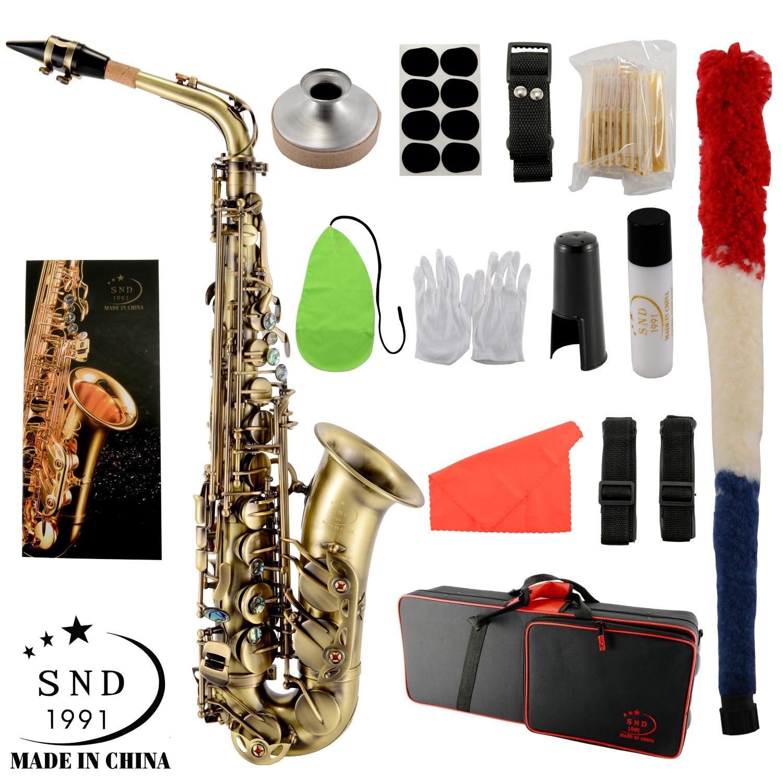 Snd-1991 EB Alto Saxophone Brass Antique color E flat Saxophone 802 key woodwind instrument belt cleaning cloth glove belt