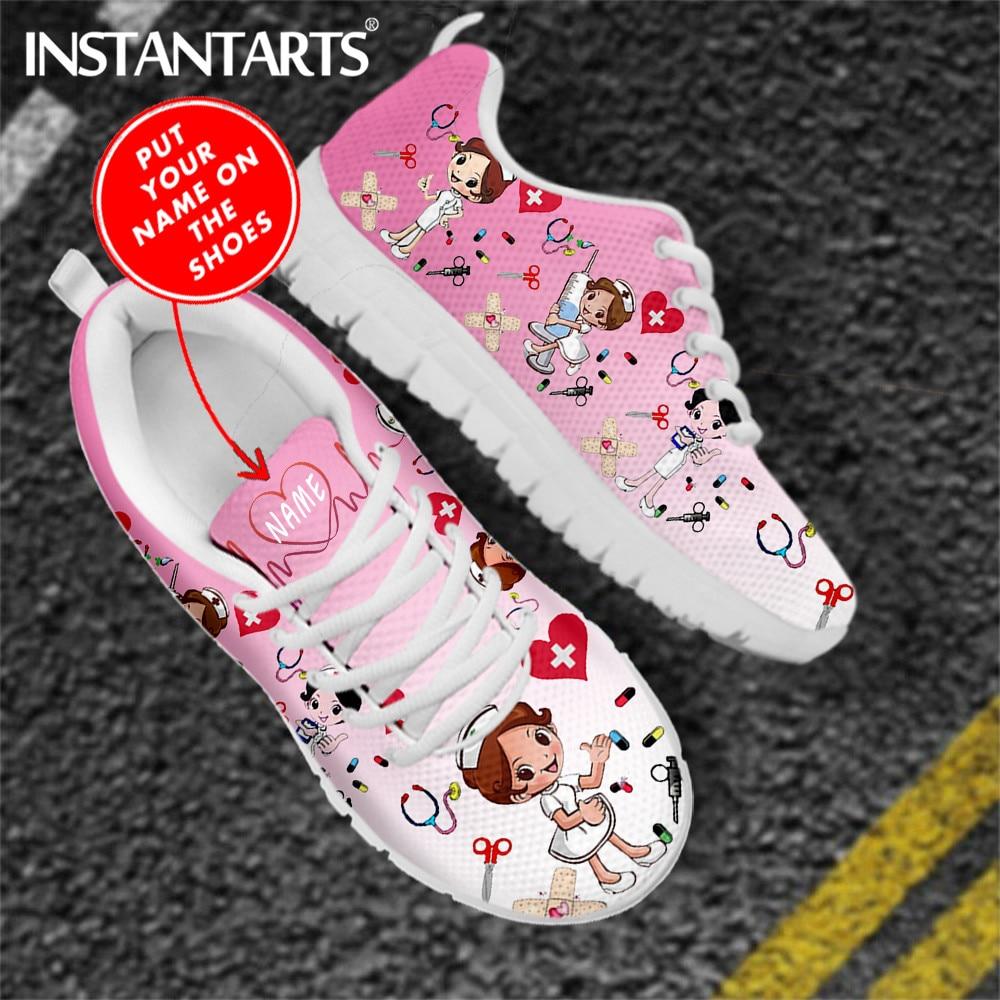 INSTANTARTS/розовые женские туфли на плоской подошве; Кроссовки с милым рисунком медсестры/доктора; Фирменный дизайн; Легкая женская обувь из сет...