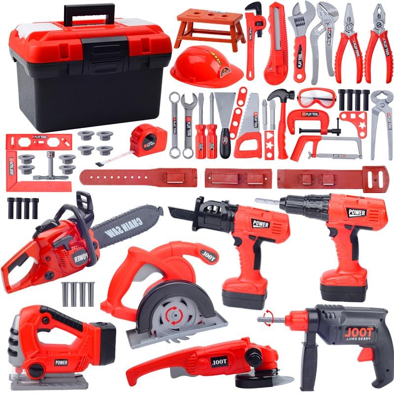 Newest Design Children's Electric Toolbox Toy Set Pretend Play Tool Toys Chainsaw Screwdriver Boy  Herramientas Para Carpinteria