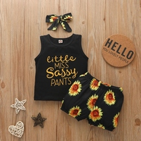2020 Summer Newborn Infant Baby Girls Clothing Sleeveless Letter Vest Tops+Printed Sunflower Shorts+Headband Clothes Outfits