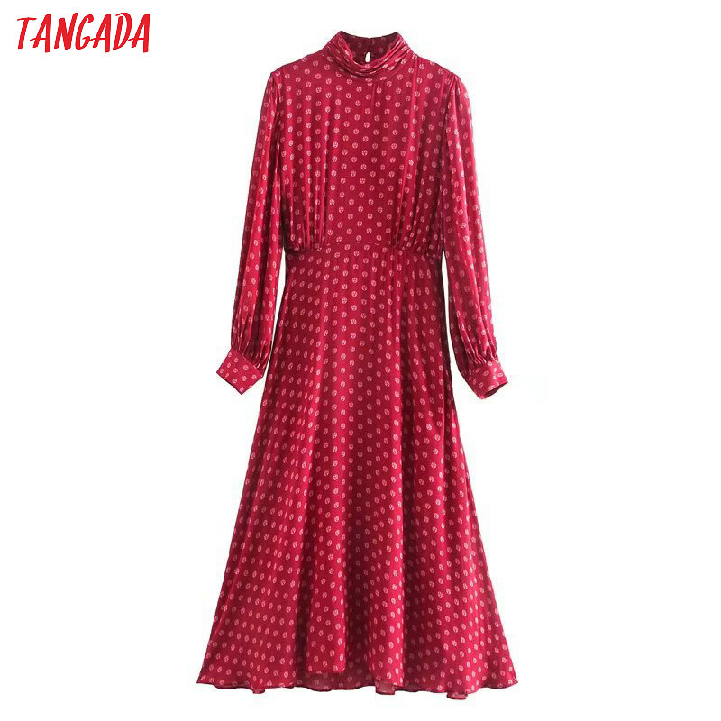 Tangada Fashion Women Red Print Midi Dress Pleated Turtleneck Back Buttons Long Sleeve Ladies Elegant Work Dress Vestidos 5Z129