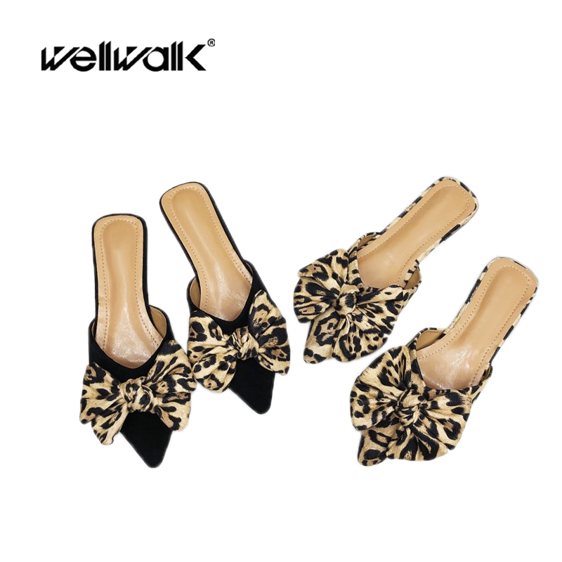 Wellwalk/тапочки на плоской подошве; женская модельная обувь; леопардовые туфли без задника с острым носком; дизайнерские шлепанцы; женские туф