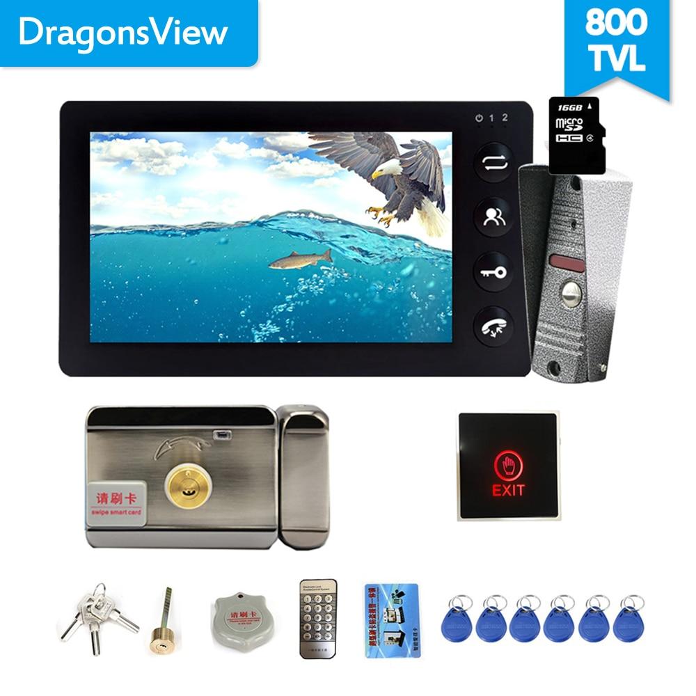 Dragonsview 7 Inch Video Intercom Video Door Phone Doorbell Intercom Recording Function 16GB SD Card Motion Alarm 1200TVL Unlock
