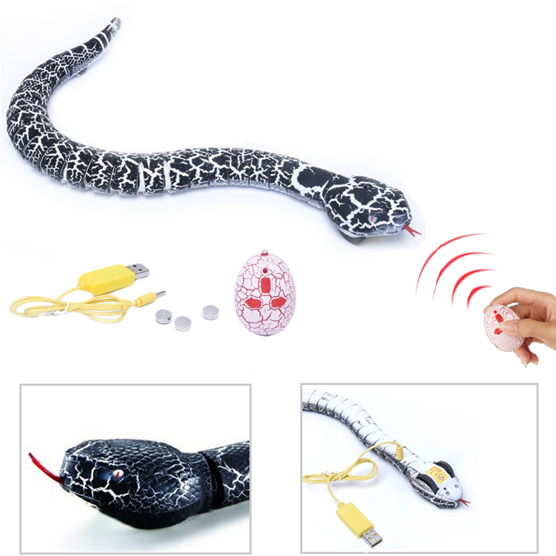 Funny Simulation Snake Infrared RC Remote Control Scary Creepy Reptile Snake Toys Robot Anti-stress Creeper Gift For Adult Child