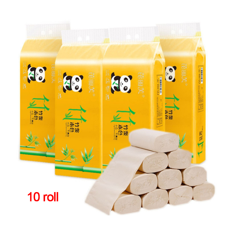 10pcs/bag 4ply Bamboo Pulp Toilet Tissue Hollow Replacement Roll Paper Clean Prevent Bacteria Cleaning Toilet New Arrival