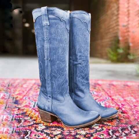ผู้หญิงฤดูใบไม้ร่วงฤดูหนาวสุภาพสตรีแบนรองเท้าด้านล่างรองเท้าเข่าต้นขายาวหนังนิ่มสีดำรองเท้า