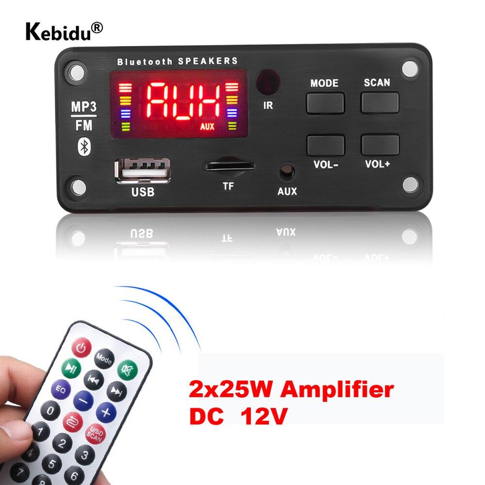 Автомобильный радиоприемник Kebidu 12 В USB TF FM аудио модуль Bluetooth MP3 WMA декодер плата Поддержка громкой связи запись звонков MP3 музыкальный плеер