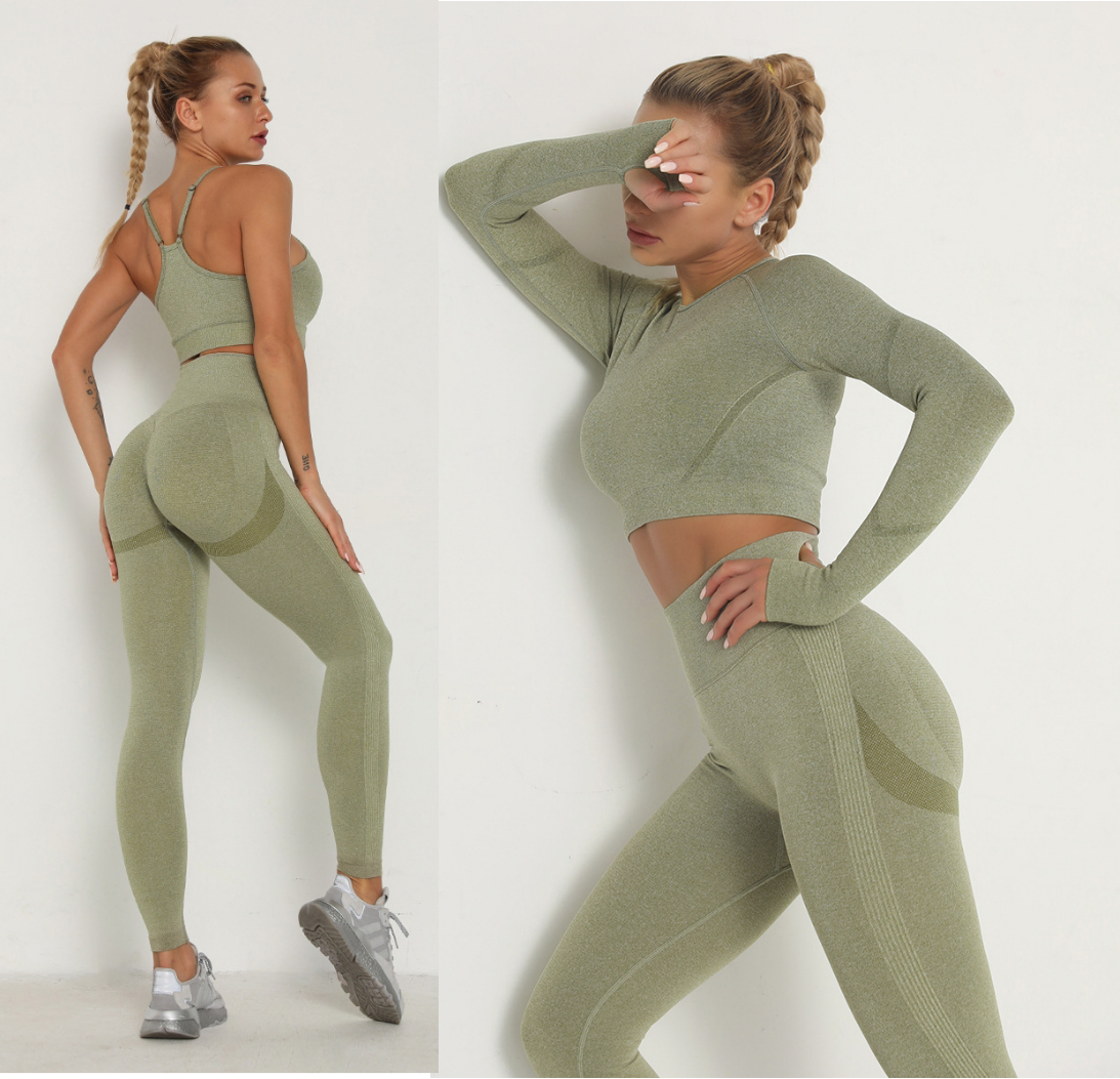 Seamless Women Sport Set For Gym Long Sleeve Top High Waist Belly Control Leggings Clothes Seamless Sport Suit Sexy Booty Girls 1