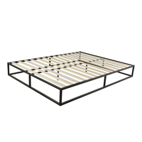 Simple Basic Iron Bed Queen/King Size Black US Stock
