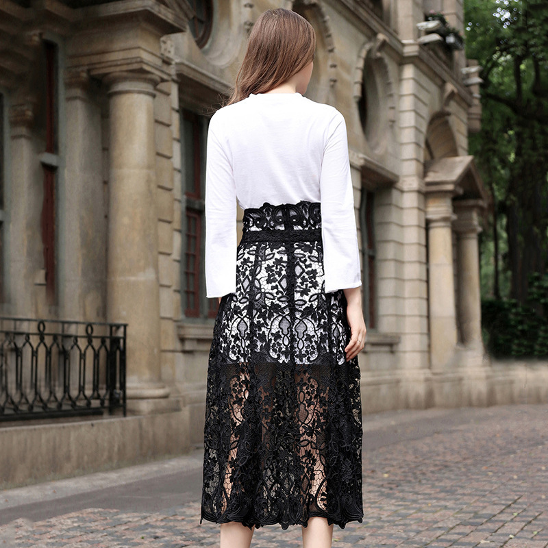 New 2020 European Women's Sets Tow Pieces High Waist Elegant Lace Long Skirt +White Sweater Sex Evening Party Suits