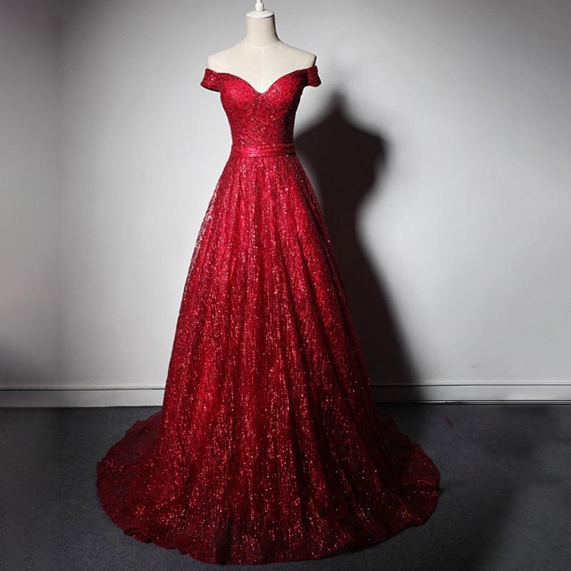 Evening Dress For Wedding Party Dress Elegant Boat Neck Prom Dress Court Train A-line Bling Bling Sequin Formal Evening Dresses